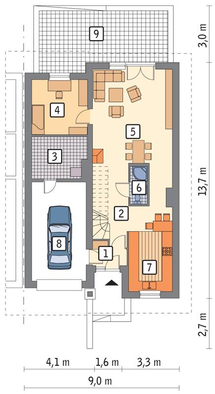 Rzut parteru POW. 90,7 m²