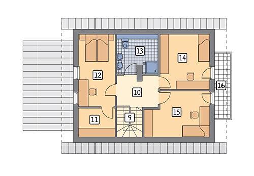 Rzut poddasza: wersja podstawowa POW. 68,4 m²