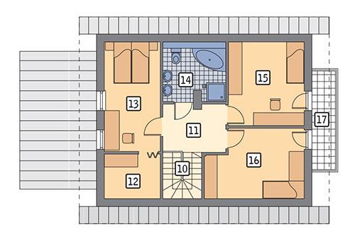 Rzut poddasza: wariant 3 POW. 68,7 m²
