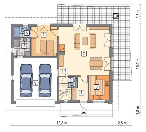 Rzut parteru POW. 102,5 m²