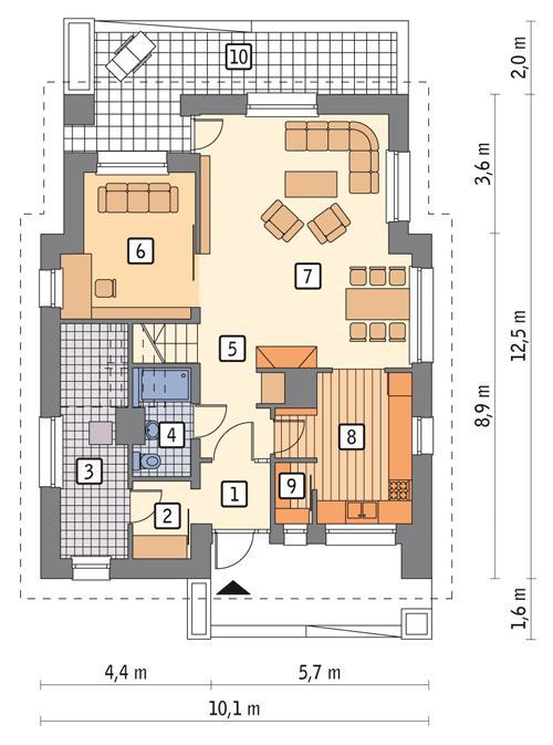 Rzut parteru POW. 80,6 m²