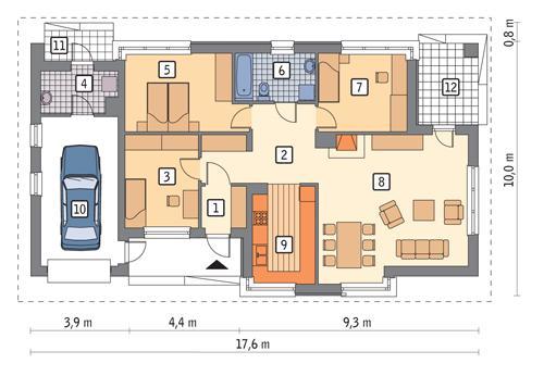 Rzut parteru POW. 116,2 m²