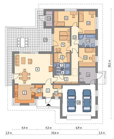 RZUT PARTERU POW. 143,9 m²